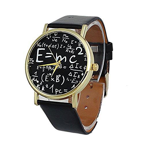 Tongshi Símbolos Ginebra Matemáticas de lujo de las mujeres de cuero de imitación reloj de cuarzo analógico Negro
