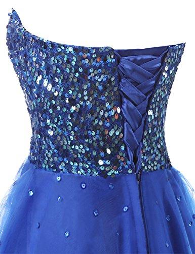 Sarahbridal Damen Tüll Abendkleider Kurz Herzenform Abschlusskleider Ballkleid mit Paillette SSD032 Koenigsblau