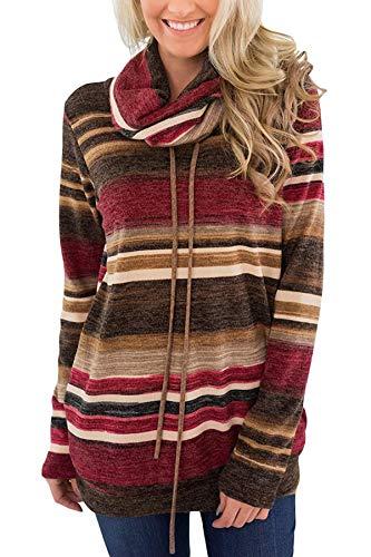 Damen Pulli Pullover Elegant Kapuzenpullover Hoodie Casual Sweatshirt Rollkragen Buntes Gestreiftes Loose (S, Rot)