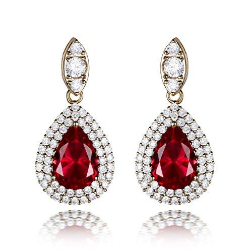 GULICX Groß Tropfen Chandelier Rot Strass Ohrhänger Gold-Ton Rubin Farbe Ohrringe (Kleid Der Mutter Anspruchsvolle Braut)