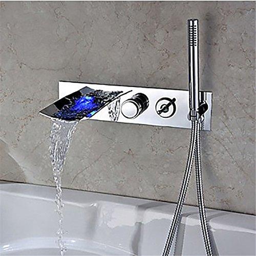 Hlluya Wasserhahn für Waschbecken Küche Moderne Verchromtes Messing, Unterputz LD Badewanne Dusche in der Wand der Wasserfall | Mauer | Dusche Badewanne Armatur
