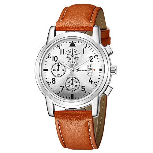 Armbanduhr jungen Liusdh Uhren Geneva Leaderband beobachten fluoreszierende Camping Outdoor Sportuhr(B,Einheitsgröße)