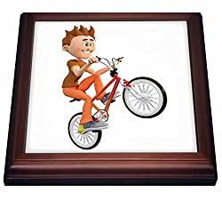 3dRose trv_239806_1 Cartoon Boy Riding Bike Doing wheelie Trivet with Ceramic Tile, 8 x 8, Natural