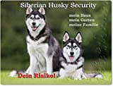 Merchandise for Fans Warnschild - Schild aus Aluminium - 20x30cm Motiv: Siberian Husky Security (01)