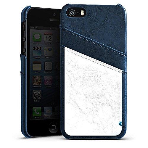 Apple iPhone 5s Housse étui coque protection Eau Water Gouttes Étui en cuir bleu marine
