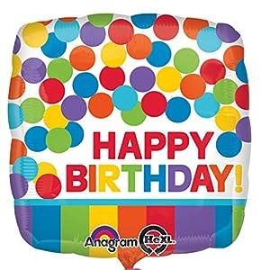 Amscan-3092801Primaria arcoíris feliz cumpleaños Foil Globos