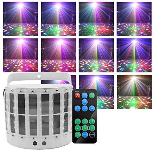 ✨ Disco-Blitzleuchten 12 Modi Stage Magic-Lampe 9 Farben Fernbedienung Lichtprojektionseffekt Bühnenlampen (Farbe : Weiß)