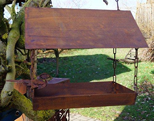 Edelrost Vogelhaus mit Ziervogel zum Aufhängen