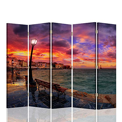 Feeby Pared Española Paisaje 5 Paneles Bilateral Agua Ciudad Cielo Rojo 180x175 cm