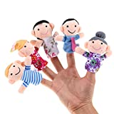 #4: Cute Mini Happy Family Figure Plush Finger Puppets Toys (6-Piece Pack)