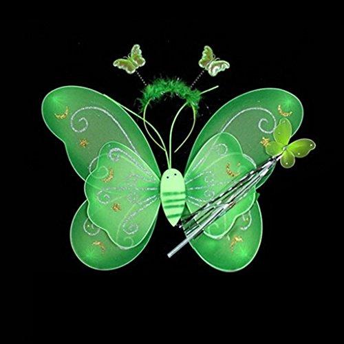 metterling Stab Stirnband Flügel Fee Kostüm Party Cosplay für Kleines Mädchen Kind (grün) (Kleines Mädchen Schmetterling Kostüme)