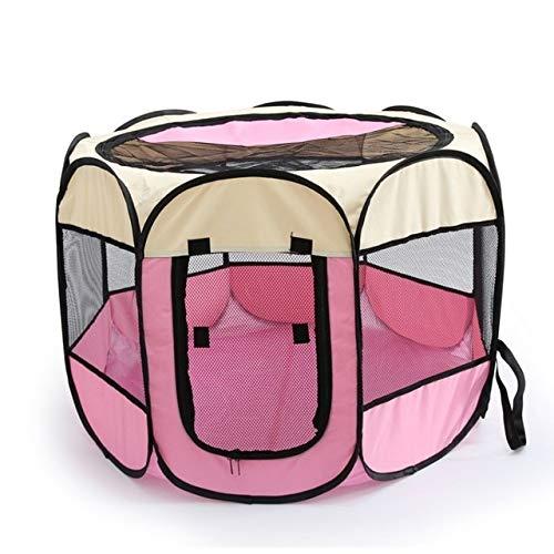 Haustierzelt Tragbares Oxford-Stoff-Katzen-Welpen-Spielen und Übungs-Laufstall-Käfig-atmungsaktives und waschbares achteckiges Haustier-Zaun-Zelt L Rosa -