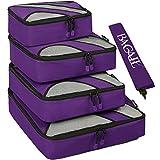 Set di cubi, confezione da 4 pacchi, per valigia da viaggio, con sacchetto per biancheria, Packing Organizers Viola viola immagine