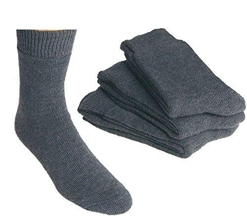 SOCKS PUR Vollplüsch-Socken, lodengrün mit Schafwolle SUPER QUALITÄT 3er PACK (43-46, Grau)