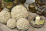 Dekokugel Valo Creme Weiß Keramik Shabby Chic Ø 15 cm für Garten oder Haus