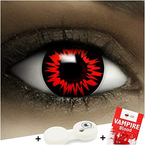 Farbige Kontaktlinsen ohne Stärke Headshot + Kunstblut Kapseln + Kontaktlinsenbehälter, weich ohne Sehstaerke in grau und rot, 1 Paar Linsen (2 Stück)