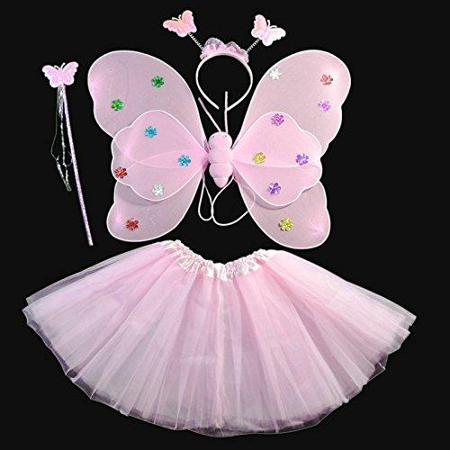 Kasit 4Stk Set Fairy Prinzessin Schmetterling Party Kostüm Wing Stab Stirnband Kleid Mädchen Fairy Rod Fairy Prinzessin Kostüm School Show - Pink (Kleider Mädchen Fairy)