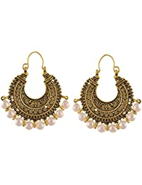 Zephyrr Fashion German Gold Chandbali Hoop Earrings With Pearls For Women