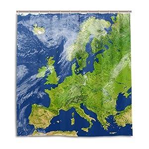 mydaily 3d mapa de Europa cortina de ducha 70x 70cm, resistente al moho y poliéster resistente al agua–cortina de baño
