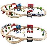YXXHM- Pädagogische Elektro-Schienenfahrzeug Spielzeug Woody Kinder Abnehmbare Interessante Montage Bausteine 110 * 45Cm