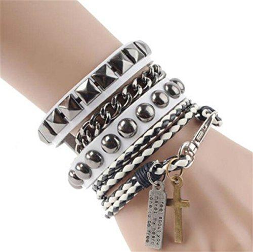 pacyerr-leder-armband-herren-kreuz-schmuck-mehrschichtig-armreif-armkette-legierung-fur-jungen-weiss