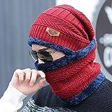 uomini ragazzi berretto invernale addensare tappo e scalda collo a scialle e sciarpa set da sci per sport outdoor Wear, donna, Dark Blue