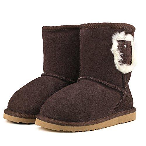 Shenduo - Bottes fille & garçon cuir de mouton, Boots fourrées colorées doublure chaude en laine Mixte enfant D8752 Chocolat