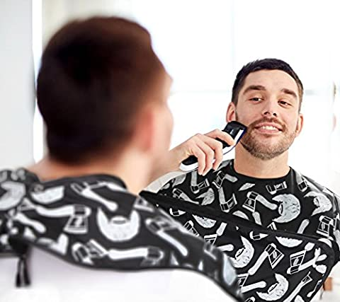 LumberWear Tablier Bavoir à Barbe - Écharpe à Raser pour Moustache et Barbe - Attrape Coiffures - Ventouse Attaché à Miroir - avec Pochette pour Outils de Rasage - Cadeau Idéal pour Homme & Papa