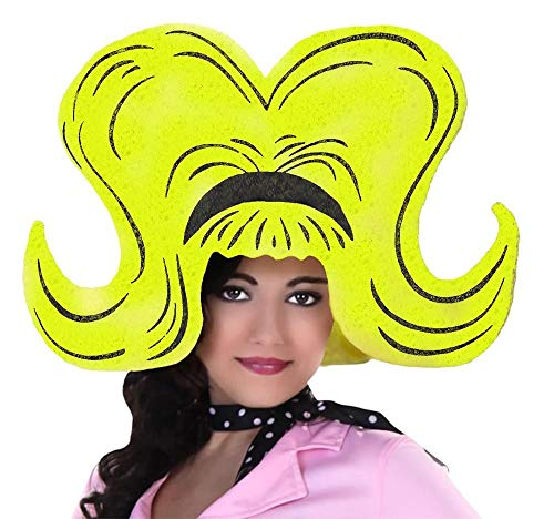 Extra große Damen Schaumstoff Perücke Gelb Pop Art 60er Jahre Hut Kopfbedeckung Kostüm-Zubehör JGA -