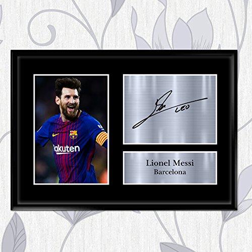 Foto firmada Lionel Messi autógrafo Barcelona paredes