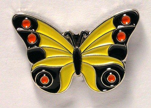 Metal Enamel Pin Badge Brooch Butterfly Yellow (& Black/Red)