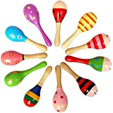 10 PCS Wooden Wood Maraca Rattles Shaker Percussion kid Baby Musical Toy Favor