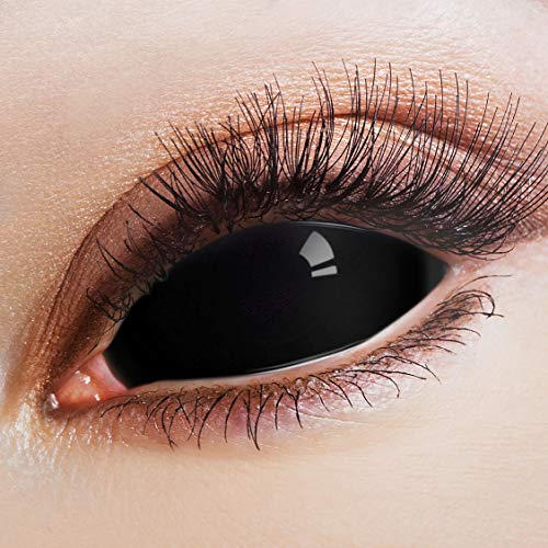 ARICONA Kontaktlinsen: Schwarze Sclera Kontaktlinsen Jahreslinsen mit 22mm - 2er Set