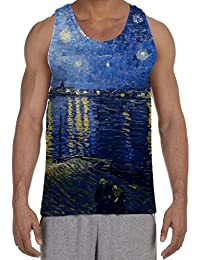 Van Gogh Starry Night Over the River Rhone Men's All Over Graphic Vest Tank Top