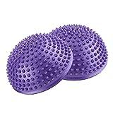 GLOGLOW PVC-aufblasbare Halbe Yoga-Bälle, Anti-Rutsch-Halber Runder Fuß-Massagepunkt Fitball trainiert Trainer-Eignungs-Balancen-Ball für Kinder und Erwachsene(Lila)