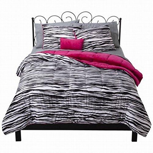 xhilaration-full-bed-in-bag-black-zebra-stripe-comforter-sheet-shams-pillow