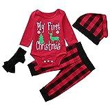 TEBAISE Weihnachten Baby Jungen Mädchen Strampler Set Weihnachts-Outfit Set Strampler + Hut + Hose + Stirnbänder Weihnachten Baby Kleid Outfit