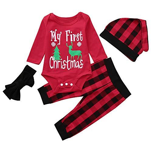 Beginfu Infant Baby Langarm Slip Drucken Weihnachten Overall Hosen Outfit Herbst und Winter Bequem...
