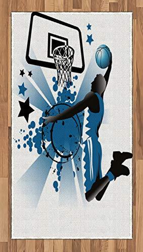 ABAKUHAUS Teen Zimmer Teppich, Springende Spieler Sterne, Deko-Teppich Digitaldruck, Färben mit langfristigen Halt, 80 x 150 cm, Violettblau und Schwarz (Zimmer Teppiche Für Teens)