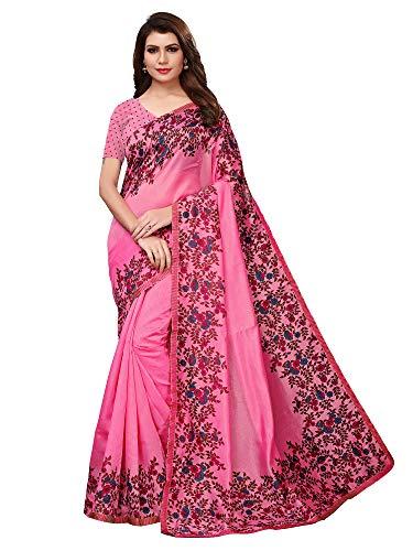 AKHILAM Women\'s Floral Printed Art Silk Saree with Unstitched Blouse Piece (Pink_KHUSHIYA22015)
