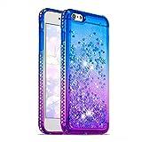 Coque iPhone 6s Plus / 6 Plus Liquide Paillette avec Glitter Strass Bord, Transparente Silicone TPU Gel Souple Étui Housse pour iPhone 6s Plus / 6 Plus Brillante 3D Sables Mouvant - Bleu Pourpre