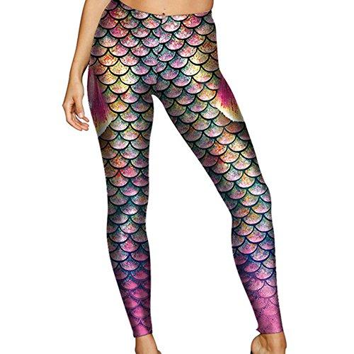 Fischschuppen Meerjungfrau Frauen Leggings Yying 3D Digital Print Leggins Fitness LeggingKDK1699 S