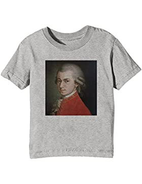 Wolfgang Amadeus Mozart Niños Unisexo Niño Niña Camiseta Cuello Redondo Gris Manga Corta Todos Los Tamaños Kids...