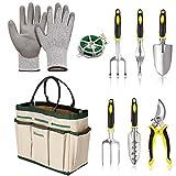 Beautytalk 9 in 1 Gartenwerkzeuge Set mit Garten Handschuhe und Garten Tote Garten Trowel Pruners aus Hochwertigem Polyester und Aluminium Robust und Rostfrei (DE Lager)