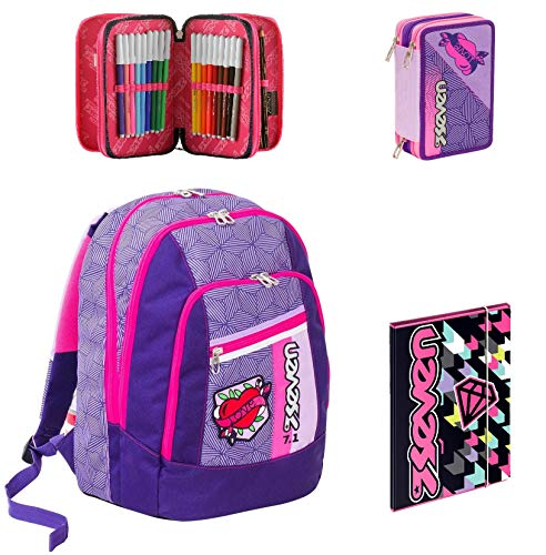 2544a8c3e4 Zaino Scuola Advanced Seven - Rebel Girl - Nero Viola + Astuccio +  Cartellina A4