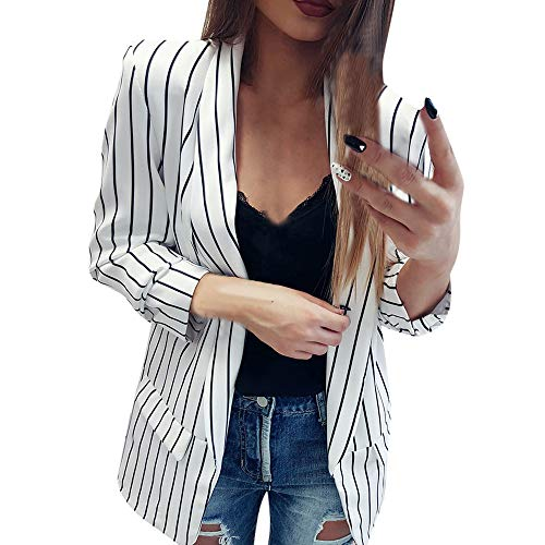 YunYoud Damen Offener langärmeliger Gestreifter Kleiner Blazer Winterjacke Jacke Daunenjacke Winterjacken Herbstjacken Damenjacken Steppjacke günstig Wolljacke warme Felljacke