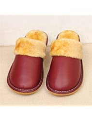TUOXDJ Zapatos de zapatillas Casa zapatillas de interior invierno algodón cálido hogar cuero 35 36 37 38 39 40 , b , 35