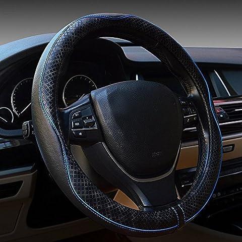 """Volante auto copertina in pelle universale 38,10 cm (15"""") traspirante, Anti-scivolo, colore: blu"""