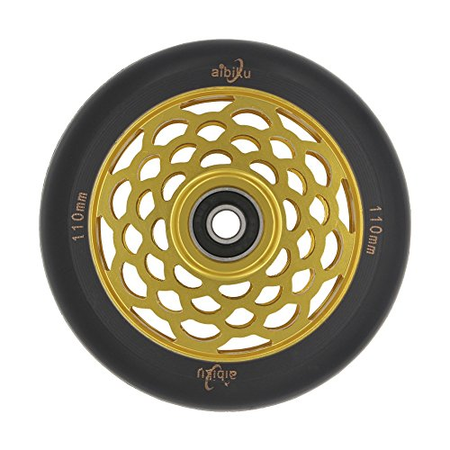 aibiku 110mm Hollow Core Stunt Scooter Rollen Mit Abec 11 Kugellager passend für MGP/Razor/Lucky/Chilli Stunt Scooter - 1 STÜCKE (Gold) (Lucky Scooter Gold)