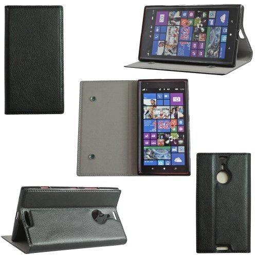 Ultra Slim Tasche Leder Style Nokia Lumia 1520 Hülle Schwarz Cover mit Stand - Zubehör Etui smartphone phablet Nokia Lumia 1520 Flip Case Schutzhülle (Handytasche PU Leder, Schwarz) - Brand XEPTIO accessoires